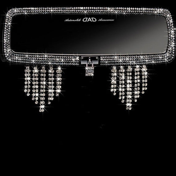 Bling Car Rear View Mirror Crystal Tassels Pendants - Carsoda - 1