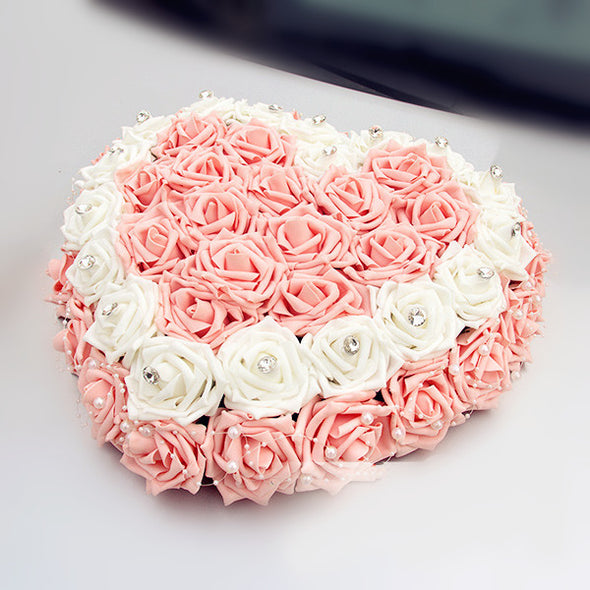 Wedding Car Decoration- Heart Shape Roses for Getaway Just Married - Carsoda - 1