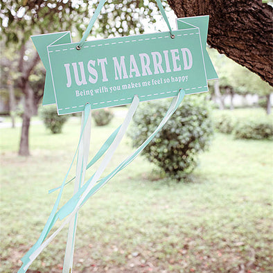 Just Married Burlap Banner Wedding Garland Wedding Gateway Car Decors - 10 Designs - Carsoda - 1