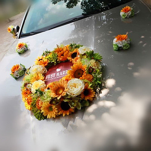 Wedding Car Decoration- Sunflower Wreath for Getaway Just Married Bridal shower - Carsoda