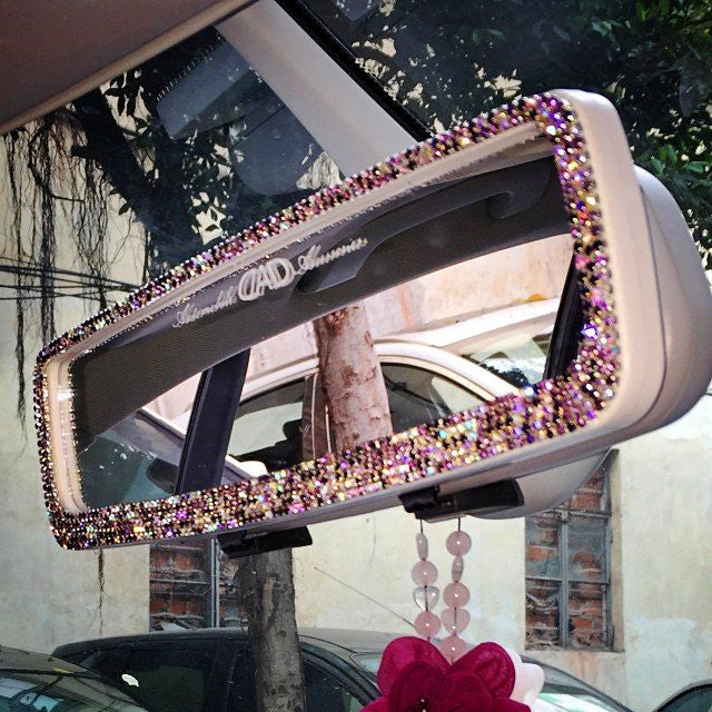 How To Unlock Steering Wheel >> Bling Car Rear View Anti Dazzle Mirror with Multicolor ...