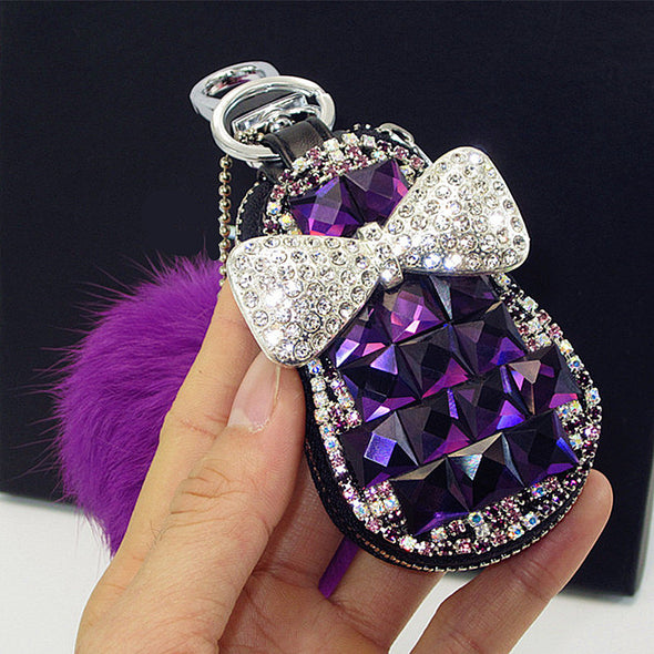 Bling Car Key Holder with Rhinestones and Pompom Fur Ball - Carsoda