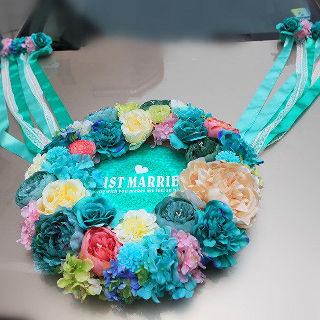 Wedding Car Decoration- Tiffany Blue Wreath for Getaway Just Married car - Carsoda