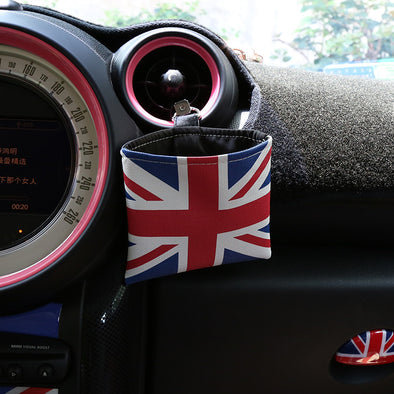 British Jack Flag Car Vent Cell Phone Holder Sunglasses Pouch Bag for Mini cooper - Carsoda - 1