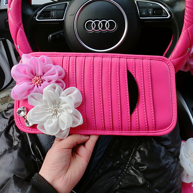 Pink Car Sun Visor CD Organizer with Bling Flowers - Carsoda