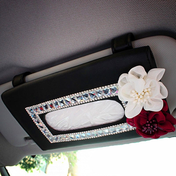 Car Sun Visor Organizer Tissue Bag with Bling Flowers - Carsoda