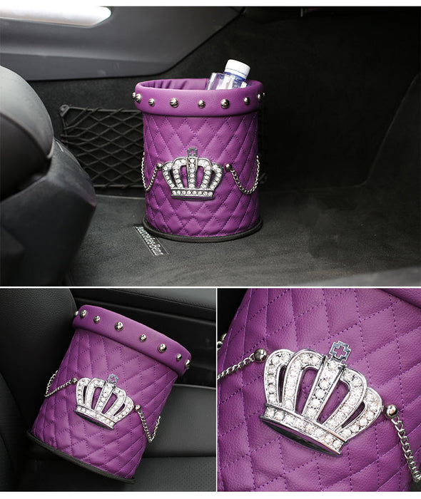 Purple Crown Leather Rhinestone Water resistant Car Trash Can - Carsoda