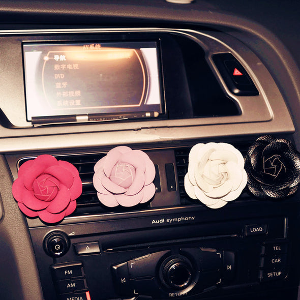 Camellia Flower Car Air Vent Bling Decoration with Air Freshener DIY clip - Carsoda - 1