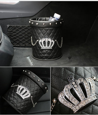 Bling Your Ride - Black Crown Leather Rhinestone Water resistant Car Trash Can - Carsoda
