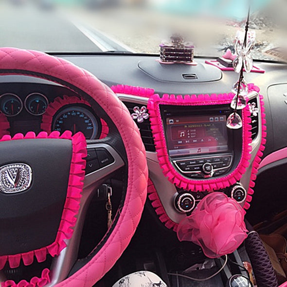 Car DIY Ruffle Lace Fringe for Interior Decorations - Hot Pink Decal - Carsoda - 1