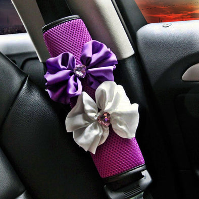 Purple Seat Belt Cover with Flower and Bling Rhinestones - Carsoda