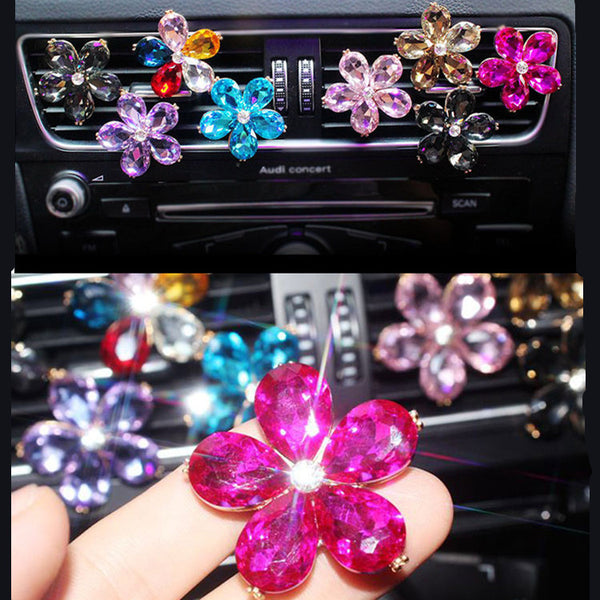 Bling Your Ride-Rhinestone Crystal Flower Air Vent Decoration - Carsoda - 1