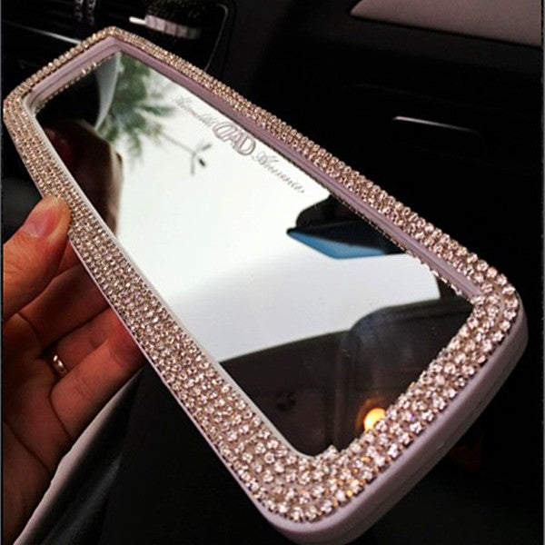 Bling Car Rearview Mirror Rhinestone Crystal Cover Rear View Carsoda