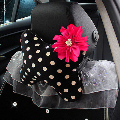 A Polka Dots Bone Shaped Car Headrest Pillow with Flower - Carsoda - 1