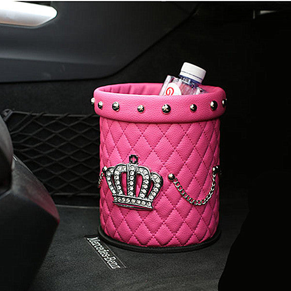 Bling Your Ride - Pink Crown Leather Rhinestone Water resistant Car Trash Can - Carsoda