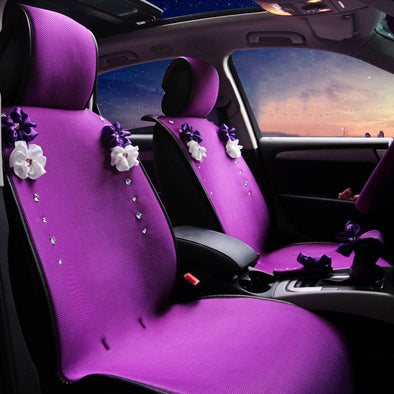 Purplize Your Ride-Purple car seat cover with Rhinestone bling Five-pieces-set - Carsoda - 1