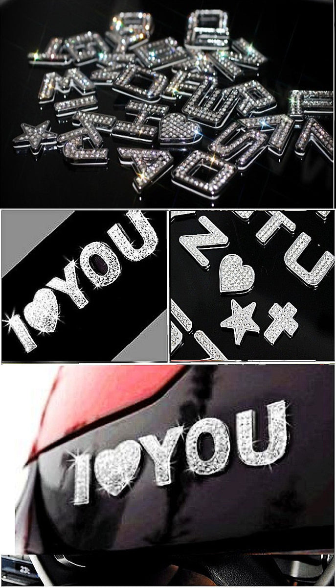 3d Bling Emblem Sticker Alphabet Letters And Numbers With