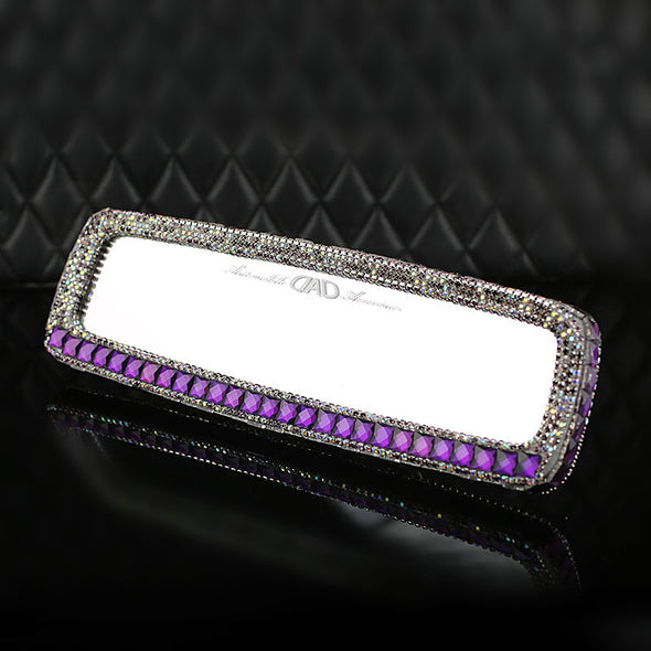 Purple Bling Car Rearview Mirror Rhinestone crystal Rear View Cover - Carsoda