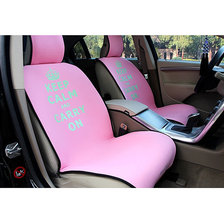 Pink car seat covers - Keep Calm and Carry On. - Carsoda