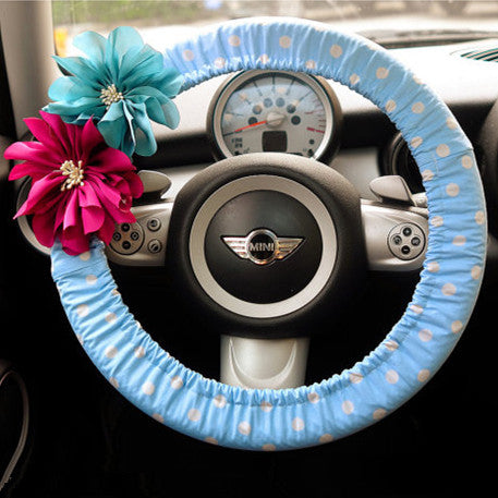 Baby Blue Polka Dots Steering wheel cover with Chiffon Flowers - Carsoda