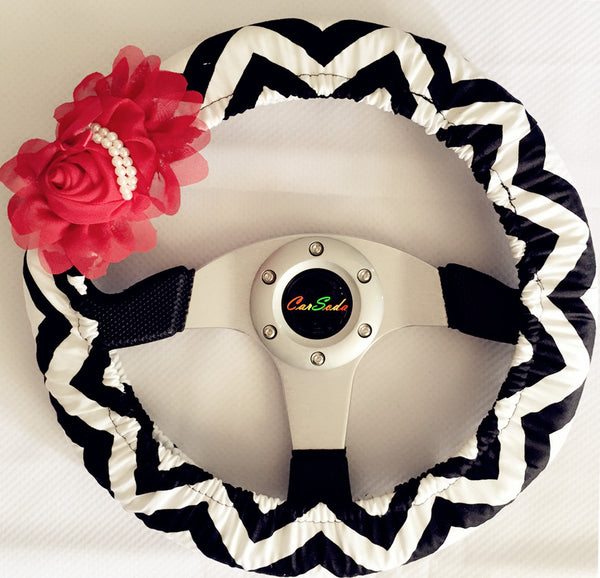 Black Chevron Steering wheel cover with Red Flower - Carsoda
