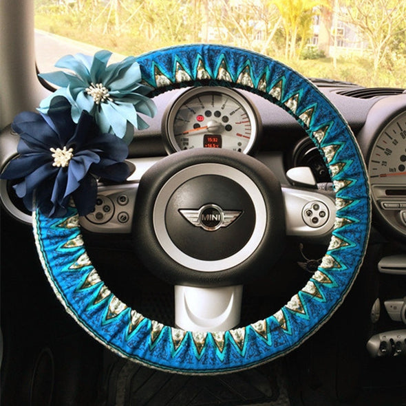 Zigzag Chevron Steering wheel cover with Flowers - Carsoda - 1