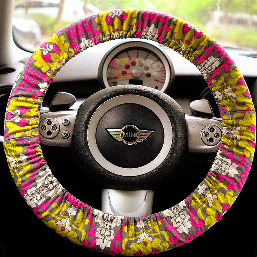 Bohemian Multicolor Flower Steering wheel cover - Carsoda - 1