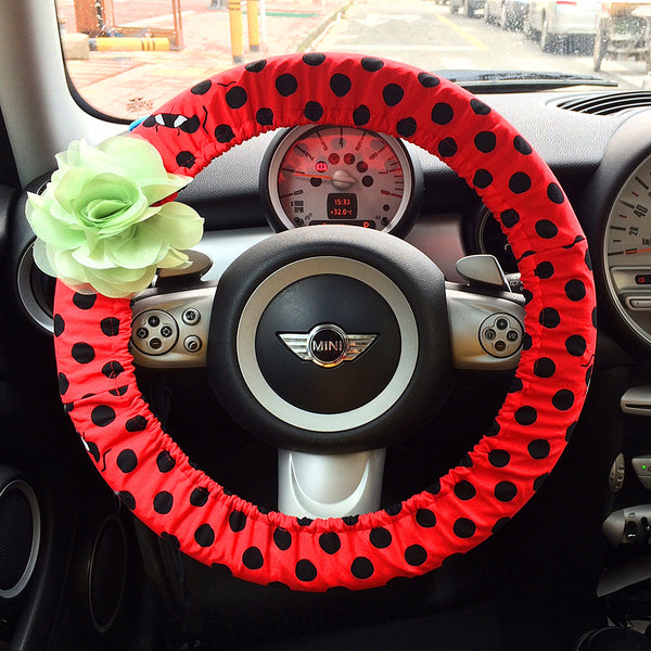 Red and Black Polka Dots Steering wheel cover with Chiffon Flower - Carsoda