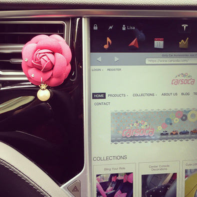 Bling Your Ride-Hot Pink Camellia Car Air Vent Bling Pearl Pendant - Carsoda - 1