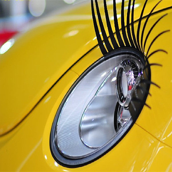 Black Car Headlight Eyelashes with 3M Sticker For Mini and beetles - Carsoda - 1