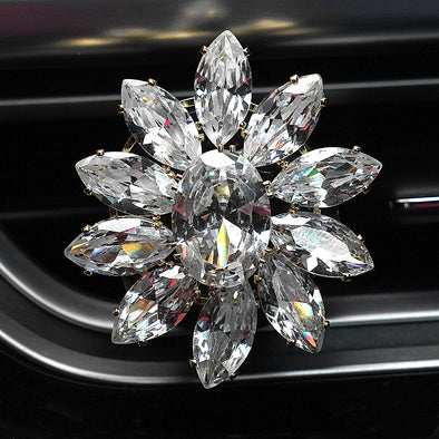 GiveMOJO Bling Cubic Zirconia Flower Car Air Vent Refreshener Non-Toxic Natural Scent (Black Vanilla) with Refill