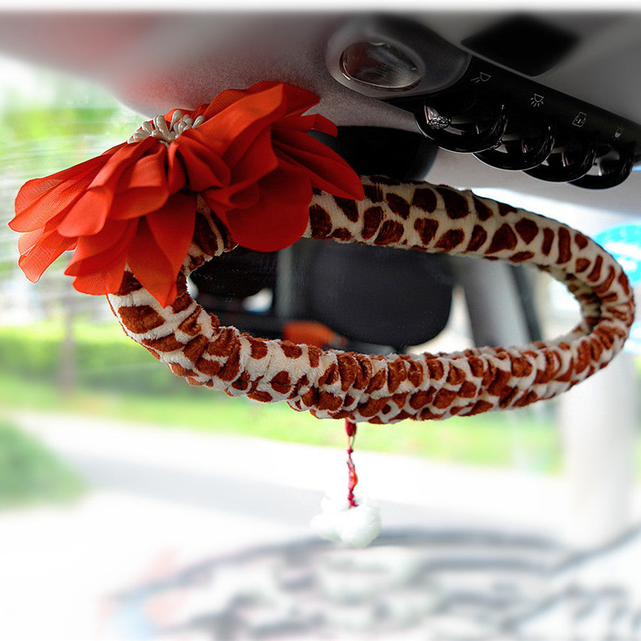 Giraffe Print Rearview Mirror Cover - Carsoda