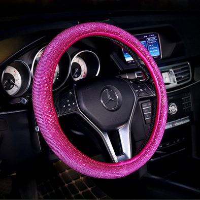 Bling Bedazzled Steering Wheel Cover with Rhinestones - Hot pink NEW COLOR