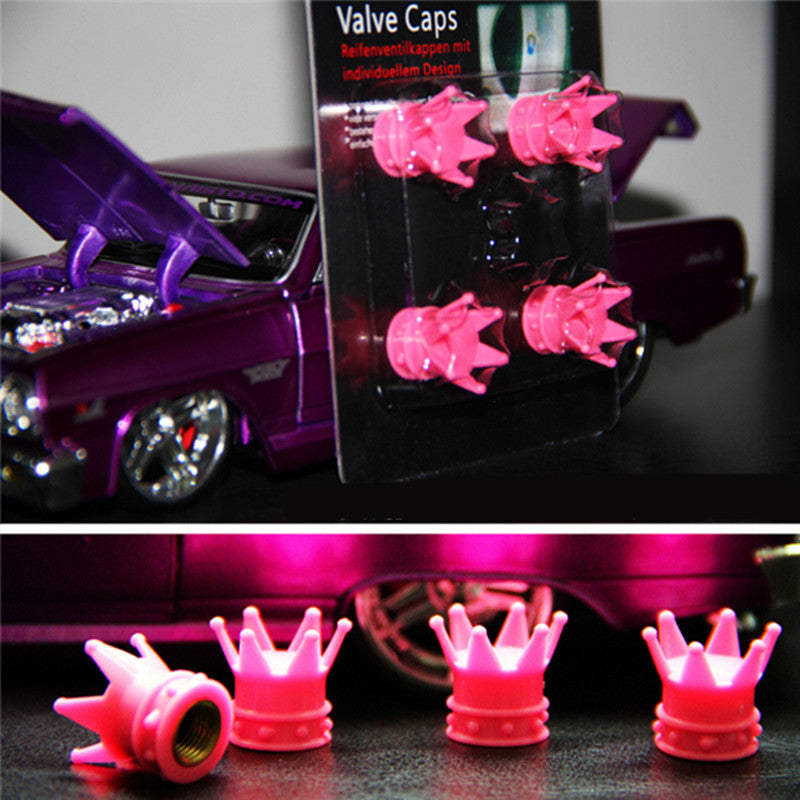Hot Pink Crown Car Wheel Air Tyre Valve Dust Caps Covers Set of 4 For Mini Beetles - Carsoda