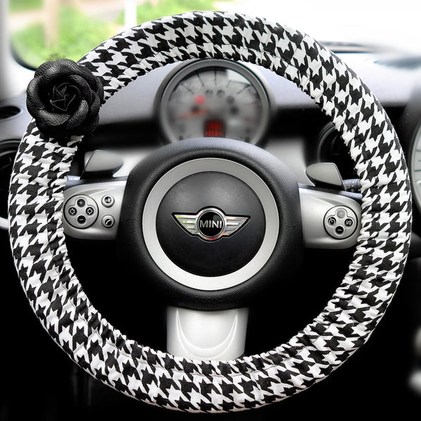 Houndstooth Steering wheel cover with leather flower - Carsoda