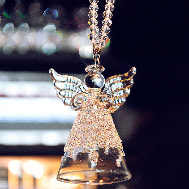 Hanging Car Ornaments Crystal Angel Bell Rearview Mirror Charm Carsoda