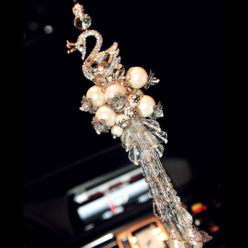 Car Charm Ornaments-Hanging Swan and Pearl Rear View Mirror Charm - Carsoda