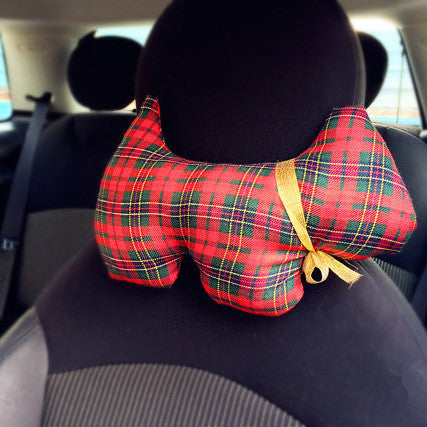 Dog Shaped Plaid Car Seat Headrest Pillow - Carsoda