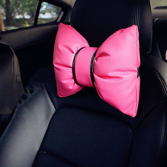 Pink Bow Shaped Headrest Pillow - Carsoda