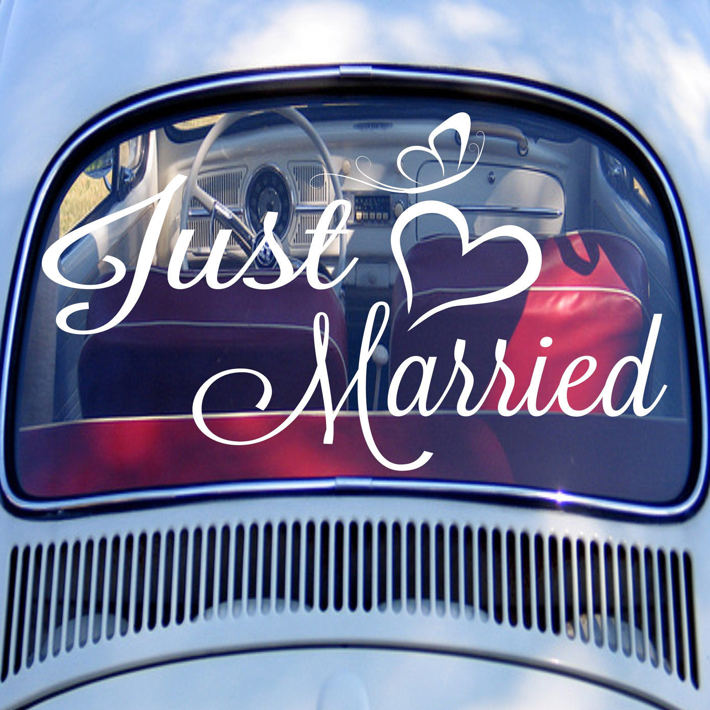 Just married car decal wedding personalized names and dates monogrammed