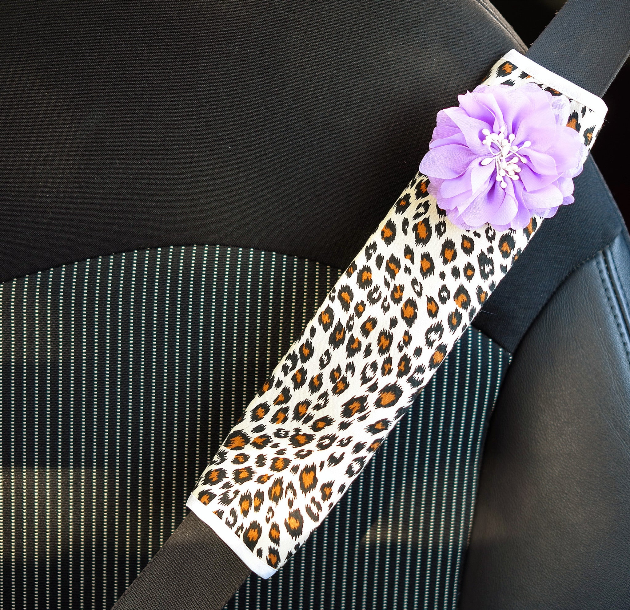 White Leopard Seat Belt Cover - Carsoda