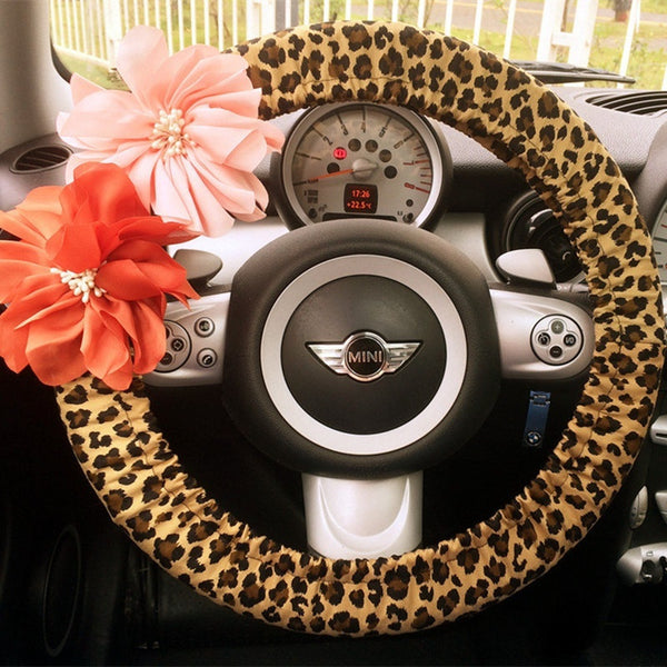 Leopard Print Steering wheel cover with Flowers - Carsoda - 1