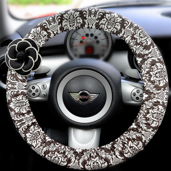 Black and white Damask Print Steering wheel cover with Flower - Carsoda