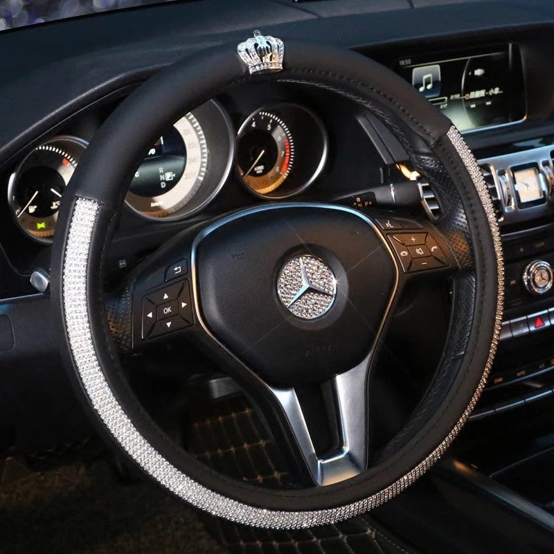 Bedazzled Steering Wheel Cover With Bling Crown Carsoda