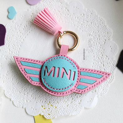 Personalized MINI COOPER Keychain leather Holder Cover charm pendant