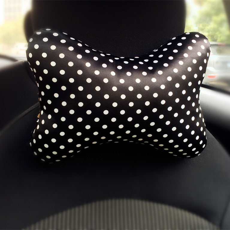Polka Dots Bone Shaped Memory Foam Car Headrest Pillow - Carsoda