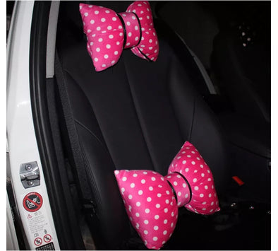 Pink Polka Dot Bow Shaped Car Seat Headrest Pillow