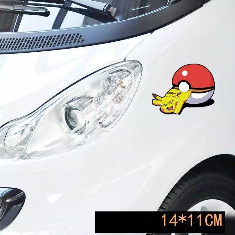 Pokemon Car Sticker Decal - Pikachu squeezing out from Pokeball - Carsoda