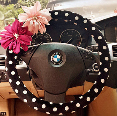 A Polka Dots Steering wheel cover with Chiffon Flowers - Carsoda - 1