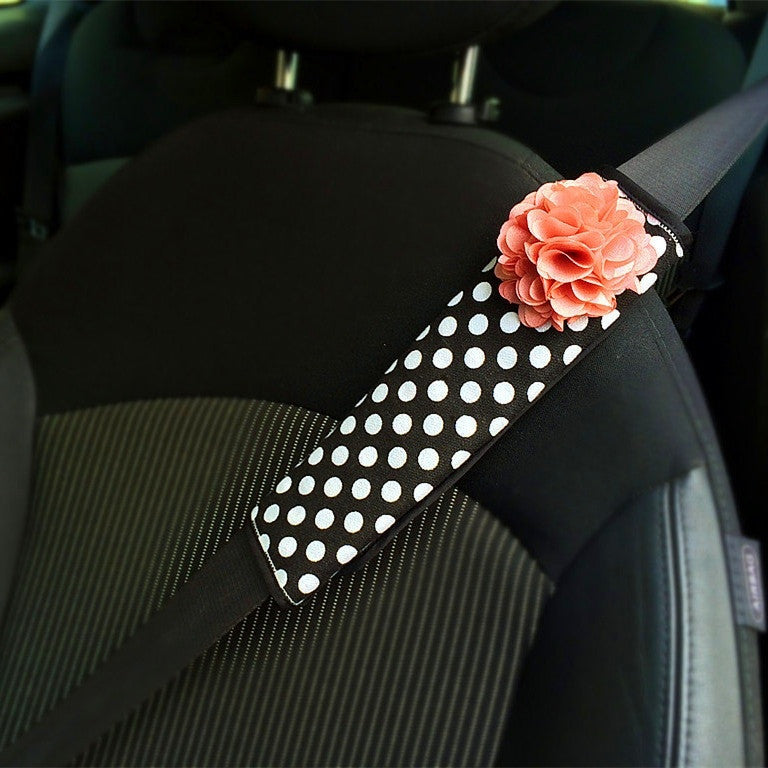 Polka Dots Seat Belt Cover - Carsoda